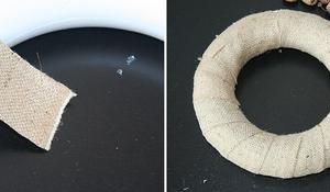 KROK I - Oklejanie styropianowego kółka płótnem